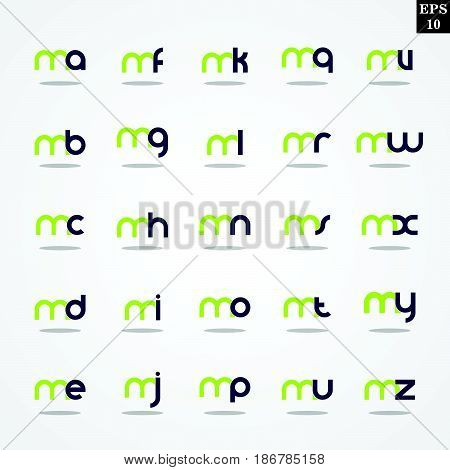 Initial letter M compilation from A to Z lowercase logo design template colorful