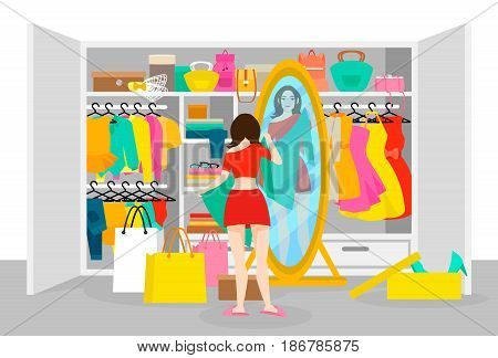 Colorful fashion concept with girl trying on clothes after shopping in front of mirror near wardrobe vector illustration