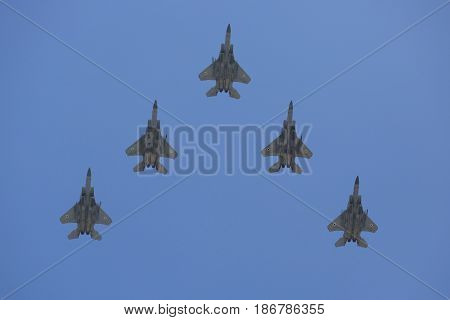 BEER SHEBA, ISRAEL - MAY 2, 2017: F-35I Stealth Fighters during Israel's Annual Independence Day Air Force Flyover in Beer Sheba