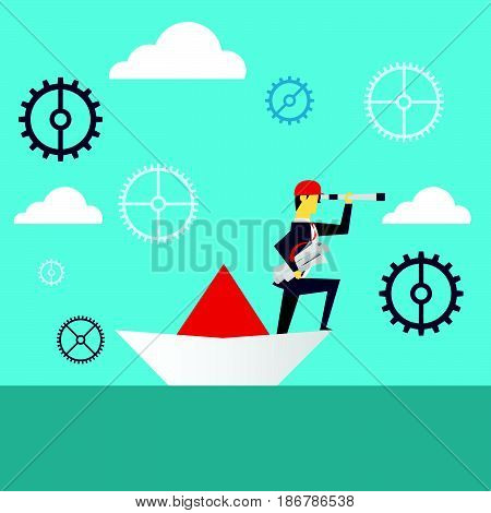 Planning work. Businessman lurking from a distance and standing on paper boat. Concept business vector illustration.