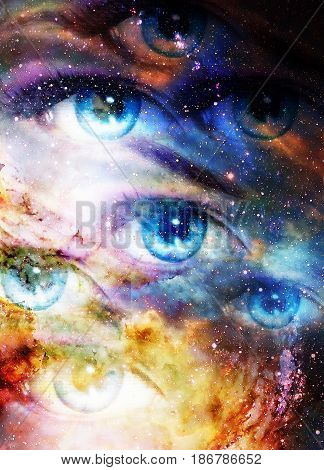 Woman eyes in cosmic background. Painting and graphic design