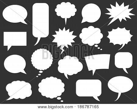 Blank empty white speech bubbles set vector