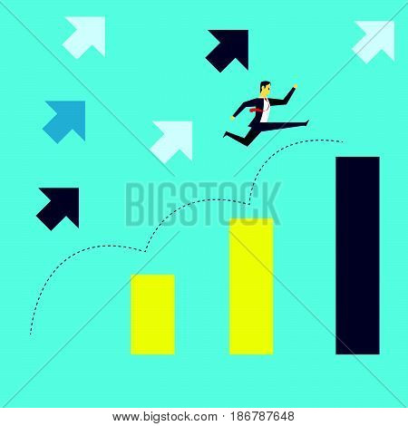 Grow up. Manager jumped onto a bar chart the increase in the target company with the spirit. Concept business vector illustration.
