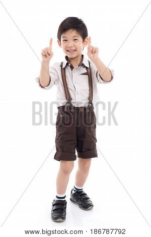 Cute asian child showing buy one get one free hand sign on white background isolated