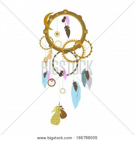 Vector flat illustration with dreamcatcher. Steapunk style. Metal and feathers. Industrial style.
