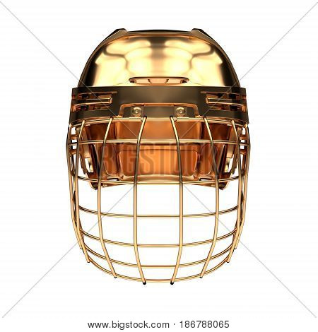 Golden Ice Hockey Helmet. Front view. Competition equipment. Template 3D render illustration. Isolated on a white background.