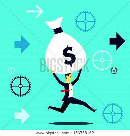 Bring something. Businessman running fun while lifting a sack of money payday. Concept business vector illustration.