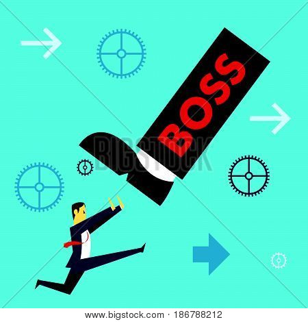 Standing survive. Businessman running to avoid pressure from the boss. Concept business vector illustration.