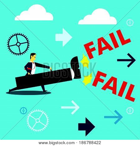 Bringing power. Businessman kicking failures plan to use a giant foot. Concept business vector illustration.