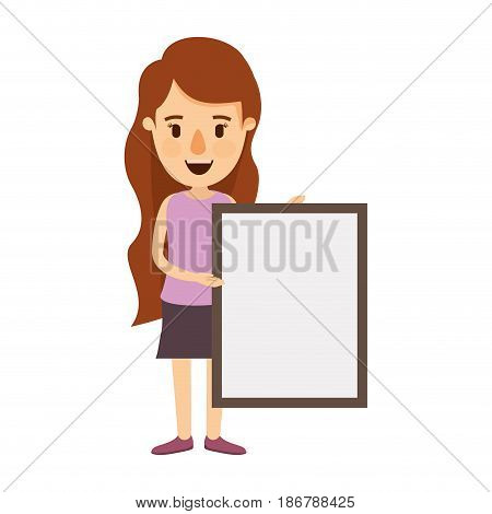 colorful image caricature full body woman holding a square poster vector illustration