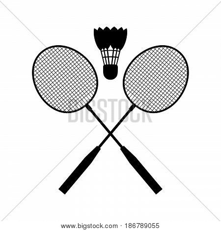 Two rackets and a shuttle for badminton