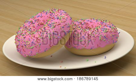 The Pink strawberry donut with sprinkles  image