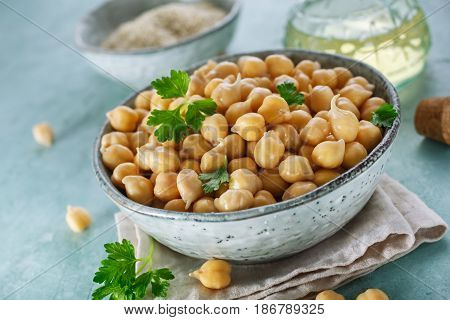 Sprouted chickpeas in the bowl. Concept for healthy eating and nutrition.