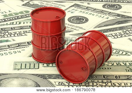 3d illustration: Red barrels of oil lie on the background of dollar money. Petroleum business, black gold, gasoline production. Purchase sale, auction, stock exchange.