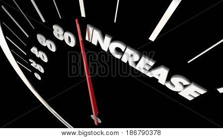 Increase Speedometer More Results Improve Growth Rising 3d Illustration