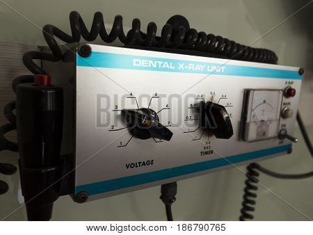 X-ray machine in the dental clinic. control panel Selective focus