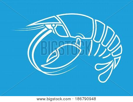 Lobster crayfish cancer Crayfish outline shape logo on blue background Vector illustration.