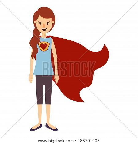 colorful image caricature full body super hero woman with ponytail hair and cap vector illustration