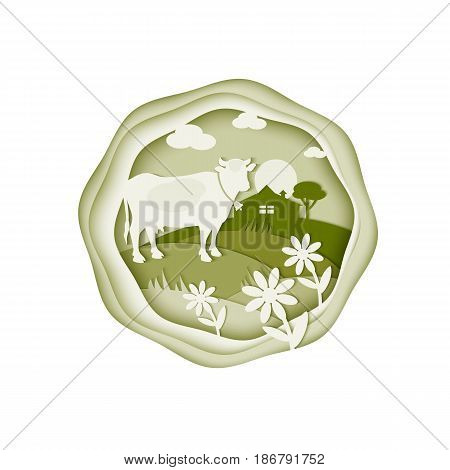 Rural landscape. Cow daisies and farm in the background. Illustration for design of dairy and farm products. Cattle and flowers are cut from white and green paper. Fashion Trend Paper Art. Vector.