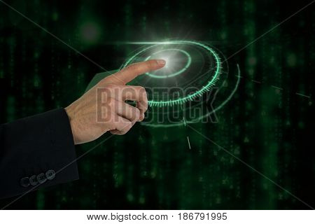 Businessman hand gesturing against digitally generated black and blue matrix