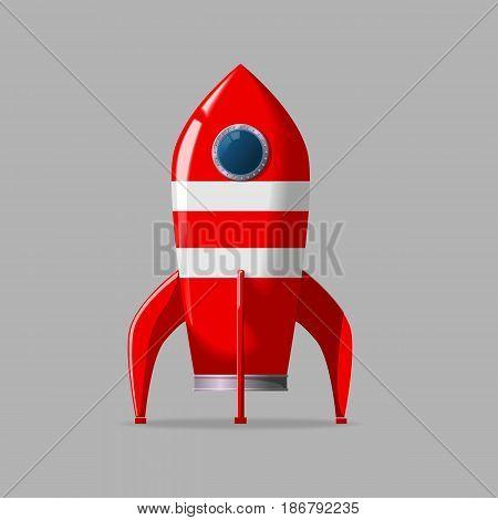 Stylized vector illustration of a retro rocket ship