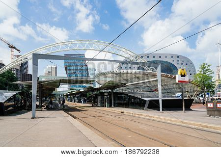 Rottedam The Netherlands - August 6 2016: Tramway station and cityscape in Rotterdam city centre