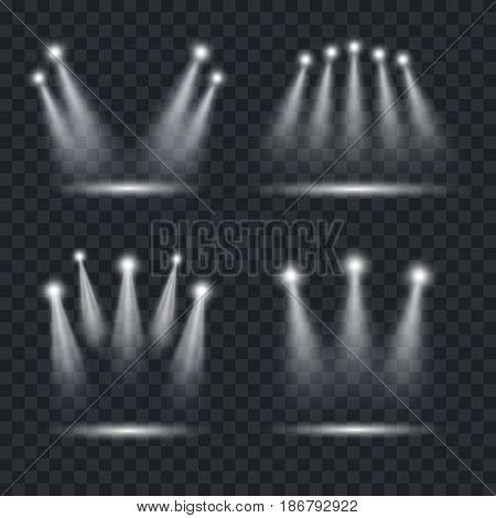 Realistic Light Scenic Spotlight Set for Concert, Stage, Scene and Show on Transparent Dark Background. Vector illustration