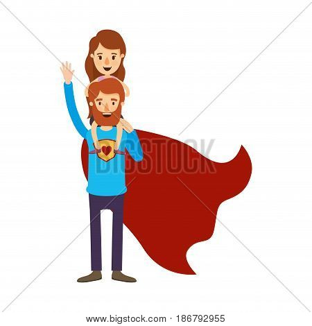 colorful image caricature full body super dad hero with girl on his back vector illustration
