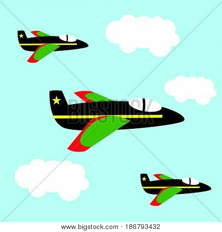 Air force patrol military for child and kid cartoon illustration flat