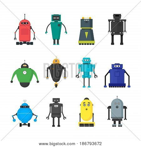 Cartoon Cute Toy Robots Color Icons Set Flat Style Design Futuristic Elements. Vector illustration