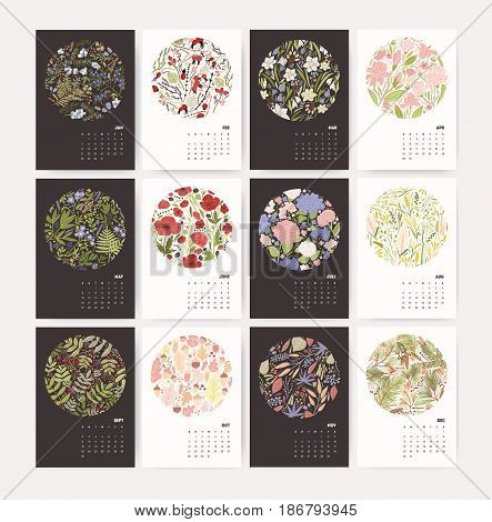 Wall calendar for 2018 Year with nature composition. Week Starts on Sunday. Design template with floral pattern. Mockup with flowers and plants for each season. Vector Illustration.
