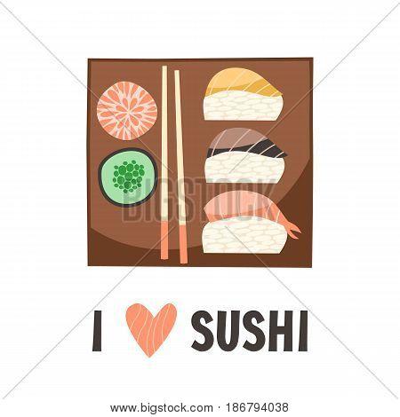 Sushi. Japanese food sushi roll. Flat vector illustration