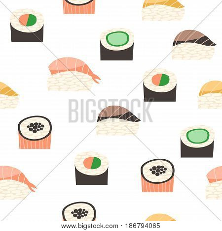 Seamless pattern with different types of sushi. Japanese food sushi roll vector background.