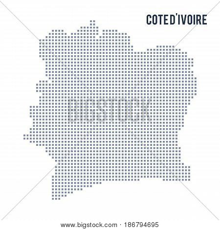 Vector pixel map of Cote D'ivoire isolated on white background . Travel vector illustration