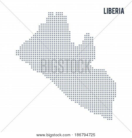 Vector pixel map of Liberia isolated on white background . Travel vector illustration