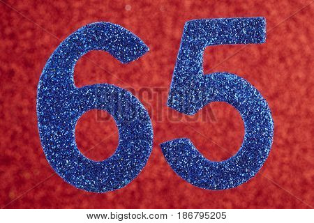Number sixty-five blue color over a red background. Anniversary. Horizontal