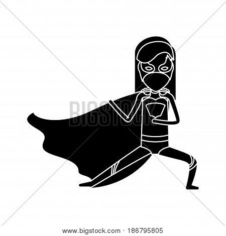 silhouette black front view superheroin woman posing in outfit vector illustration