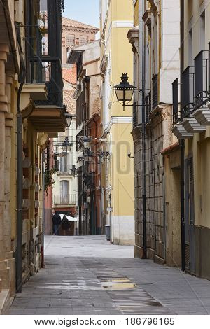 Classic street facades in Teruel. Spain arquitecture. Tourism background