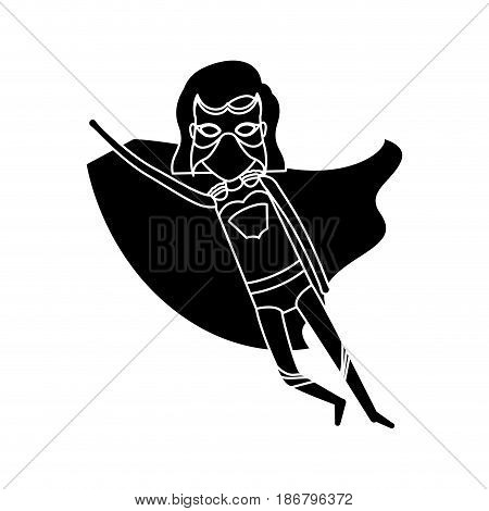 silhouette black front view superheroin woman to the rescue vector illustration