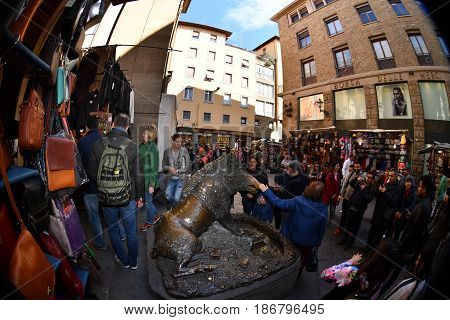 Florence, Italy - March 27 2017 - Tourist Touching Fortune Boar Pig In Florence