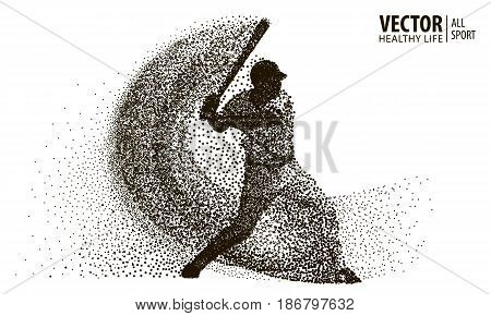 Silhouette of a baseball player from particle. Vector.
