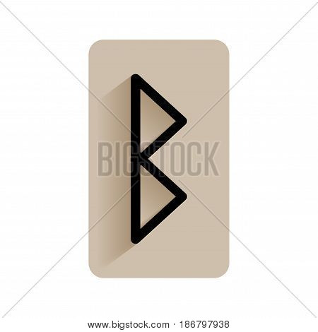 Berkano. Runic alphabet and letters. Flat icon on white background for divination, prediction. Vector
