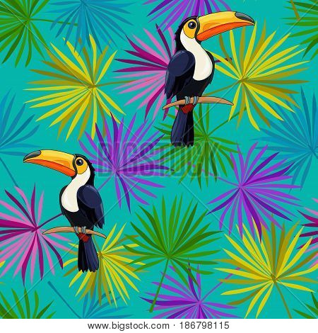 Toucan sitting on tree branch. Tropical birds. Vector pattern.