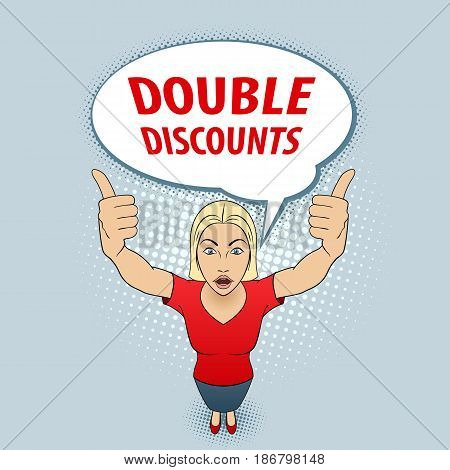 Young Woman in Red Blouse Making Thumbs up Sign with Both Hands. Double Discounts
