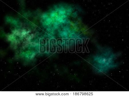 Far being shone nebula and star field against space. Elements of this image furnished by NASA . 3D rendering.