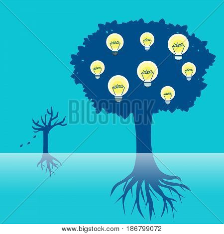 cartoon tree with light bulb on the blue background