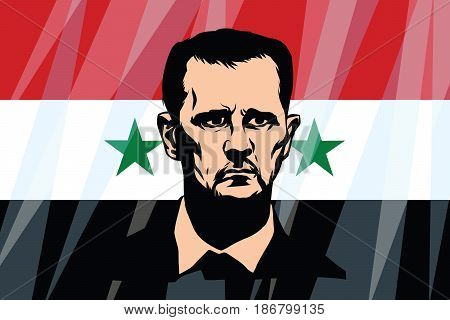 Bashar Hafez al-Assad President of Syria. Comic cartoon vintage pop art retro vector illustration