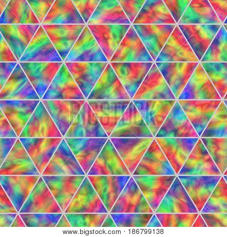 Creative Seamless Pattern of Iridescent Triangles. Continued Triangular Background with Realistic Holographic Effect.