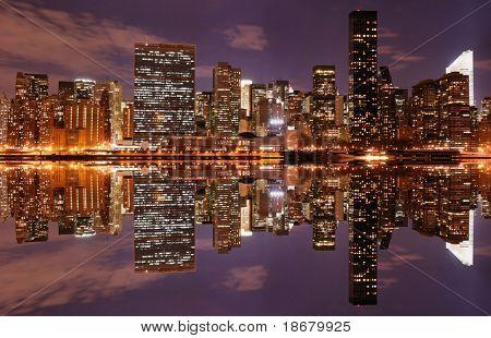 Midtown Manhattan skyline at Night Lights, NYC