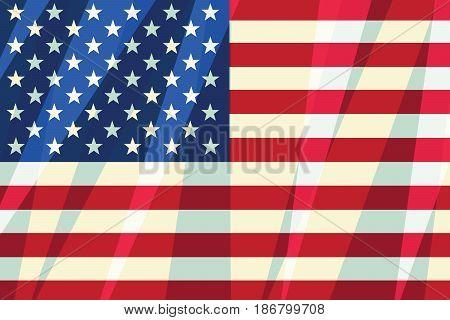 USA flag stars stripes American symbol of freedom, patriot. Comic cartoon vintage pop art retro vector illustration